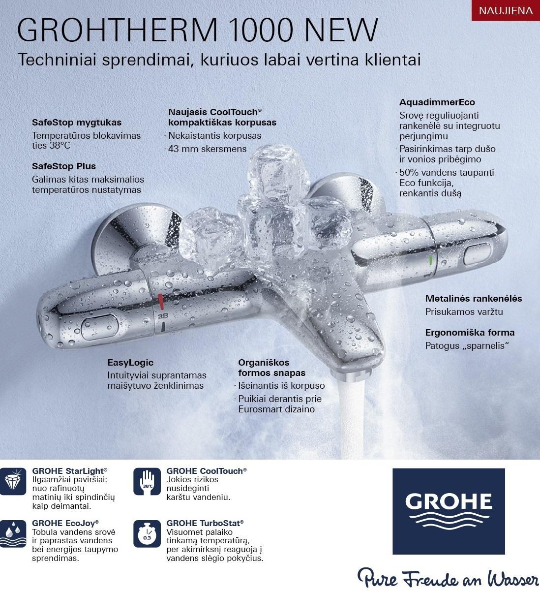 Grohe Grohtherm 1000 New.Ketvertas Lt Vonios Kambario įranga Santechnika Sildymas